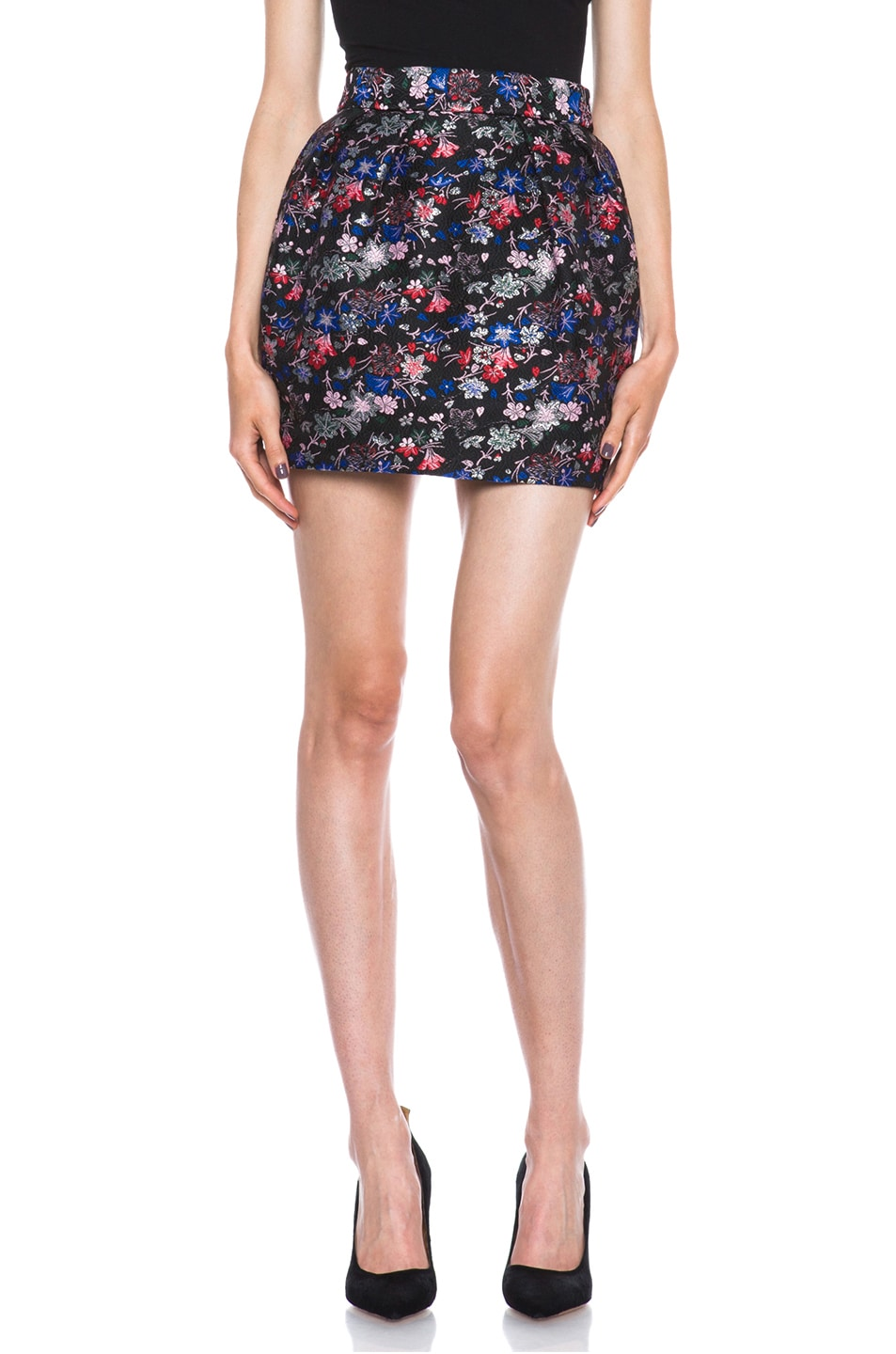 Image 1 of MSGM Brocade Poly Skirt in Black Floral
