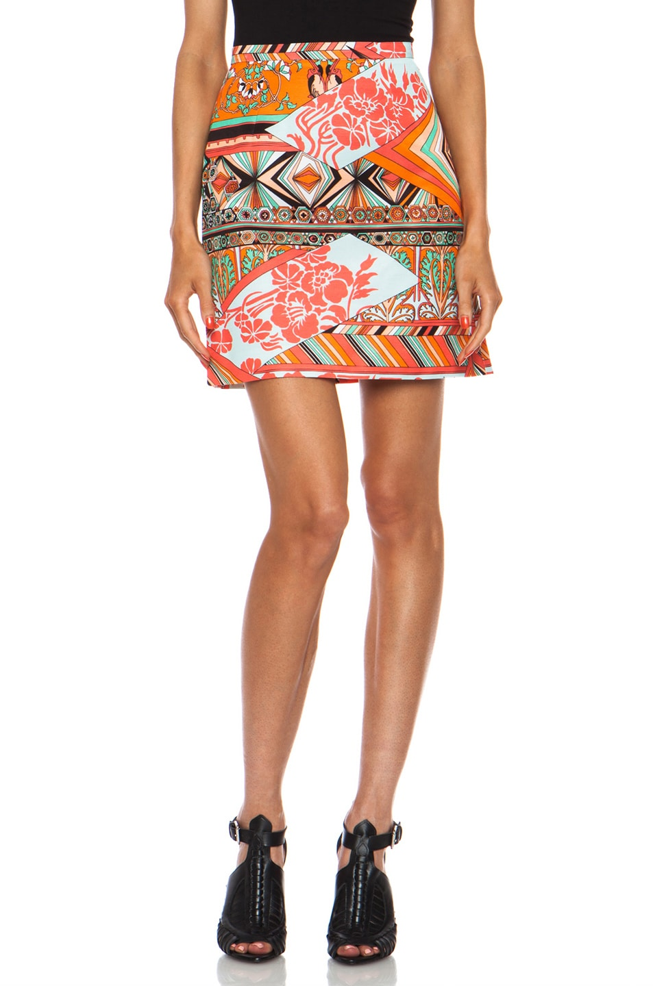 Image 1 of MSGM High Waisted Cotton-Blend Skirt in Mixed Print
