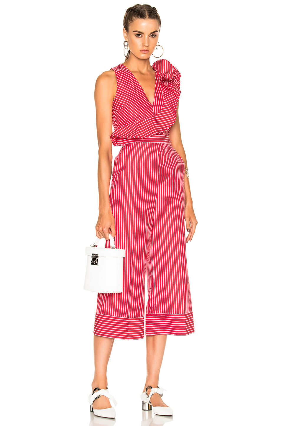 Image 1 of MSGM Striped Sleeveless Jumpsuit in Red & White
