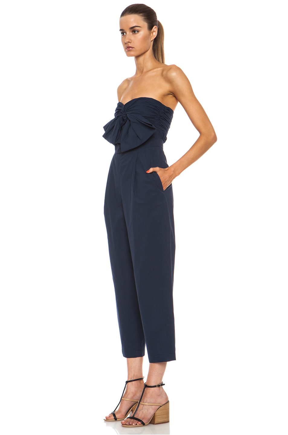Image 2 of MSGM Cotton Jumpsuit in Navy