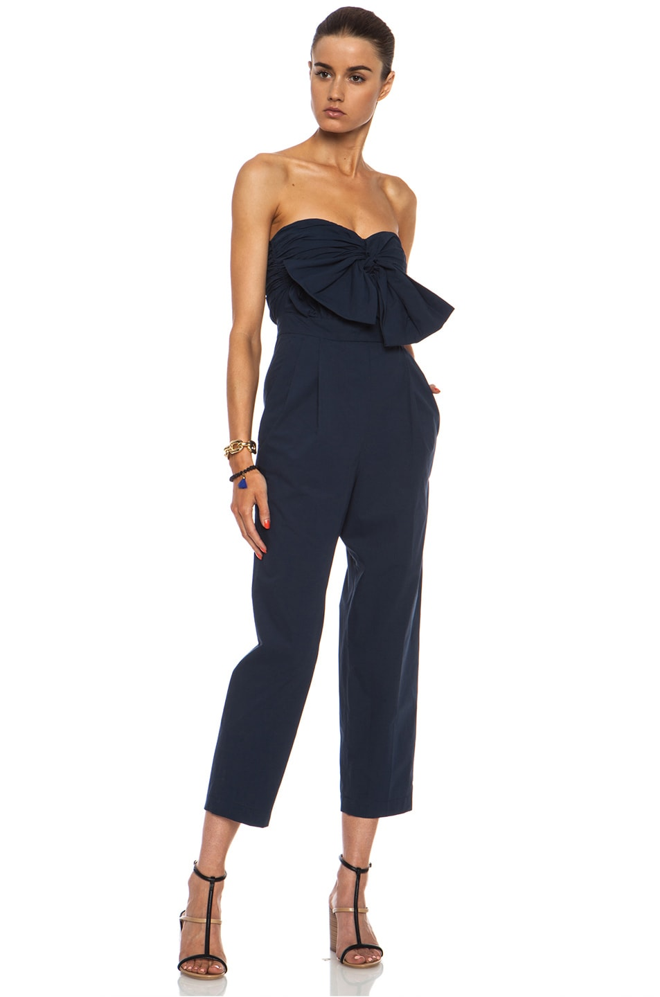 Image 3 of MSGM Cotton Jumpsuit in Navy