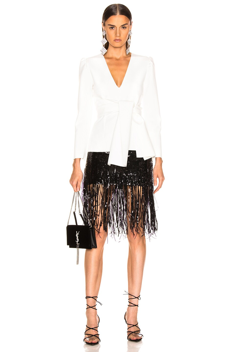 Image 5 of MSGM Crepe Blouse in White