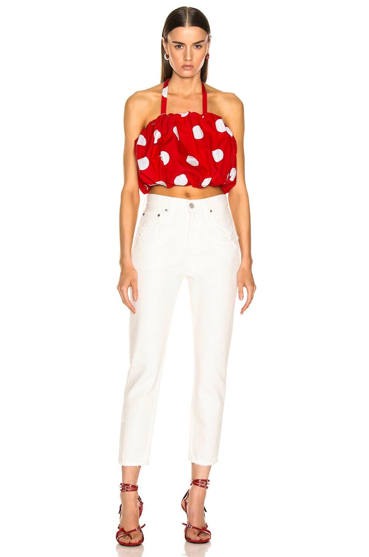 Image 5 of MSGM Macro Polka Dot Printed Top in Red & White