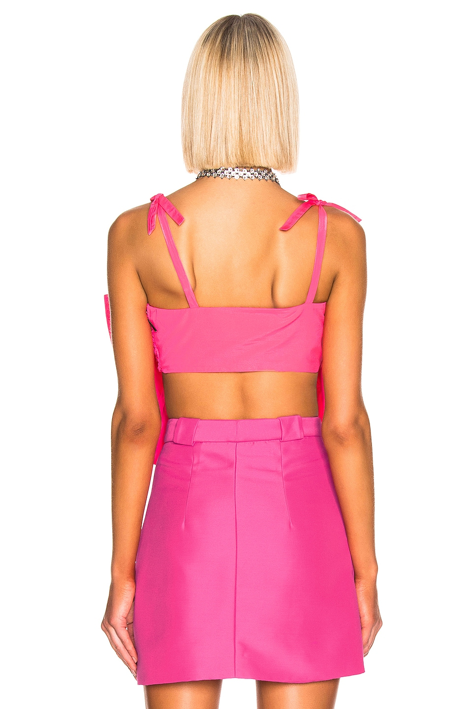 Image 3 of MSGM Bow Crop Top in Fluo Fuchsia