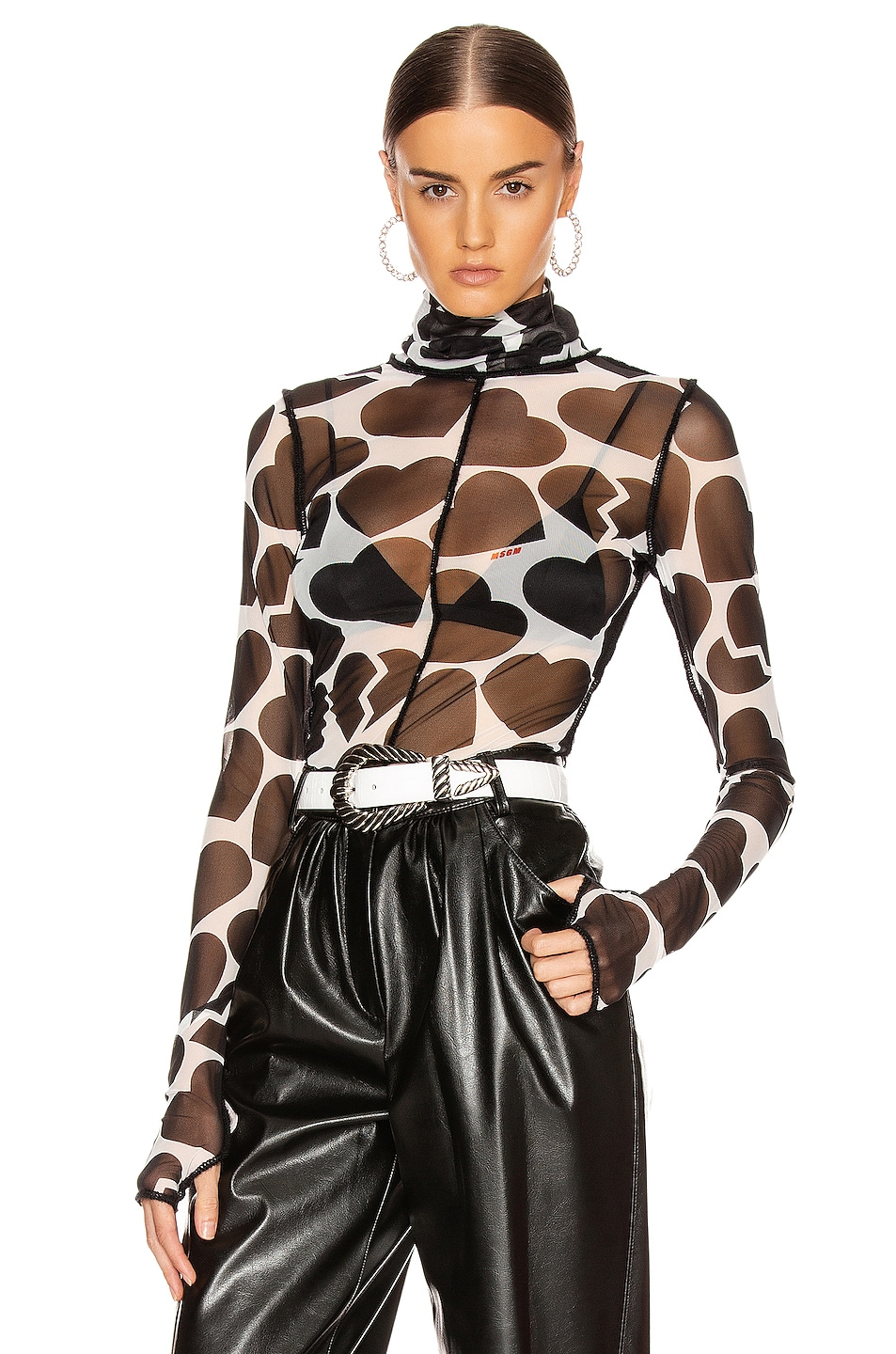 Image 1 of MSGM Heart Blouse in White & Black