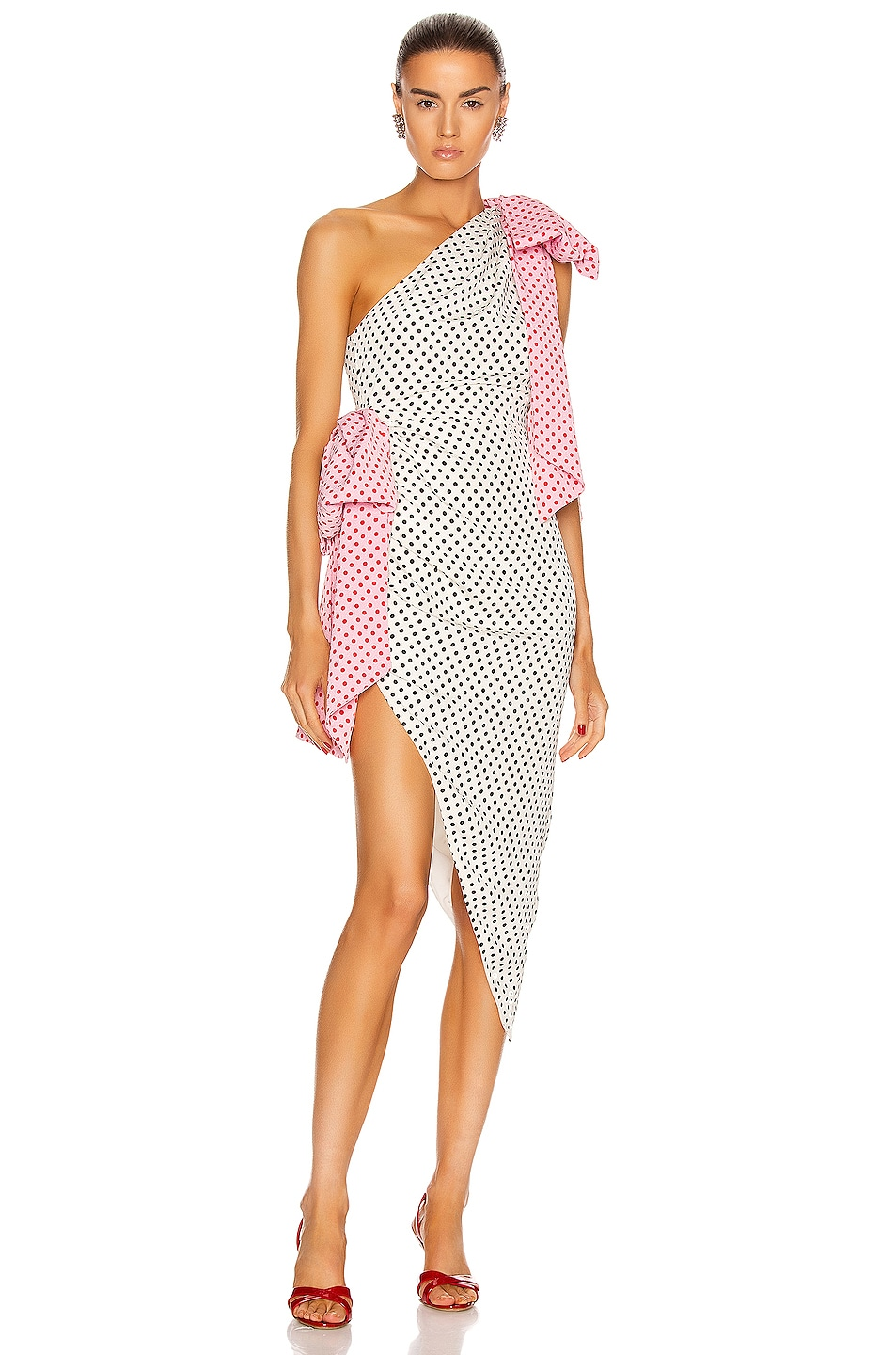 Image 1 of MARIANNA SENCHINA Bow Wow Dress in Milky Black Polka Dot with Pink Bows