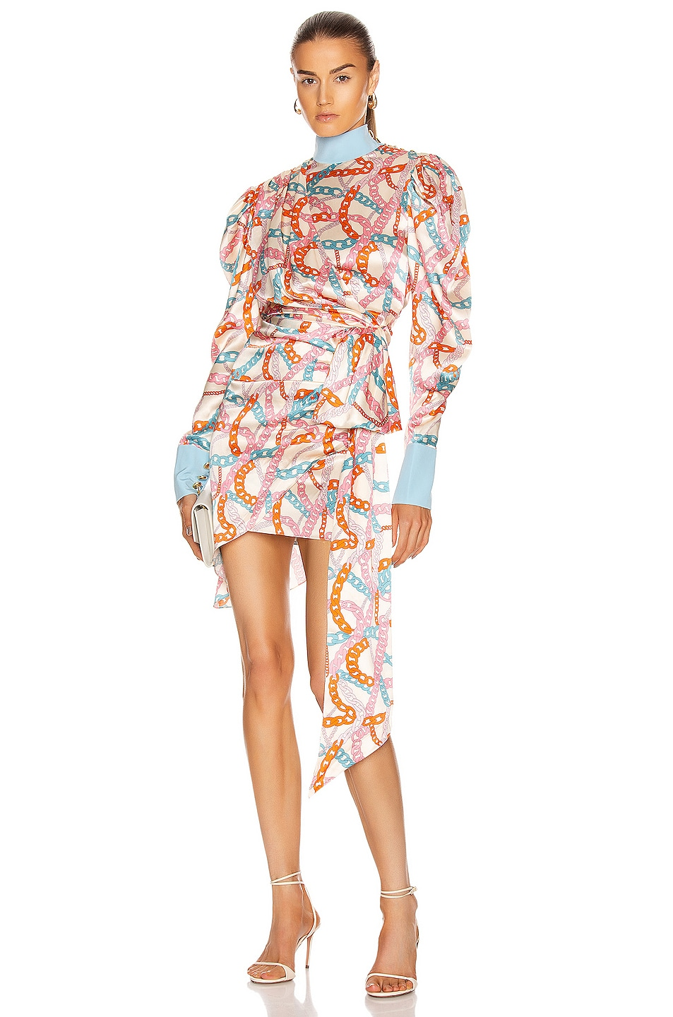 Image 1 of MARIANNA SENCHINA Buff Sleeve Mini Dress in Milk Chain Sky Blue