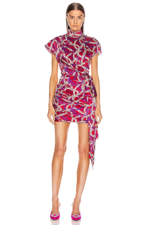 Image 1 of MARIANNA SENCHINA Ruched Side Mini Dress in Fuchsia Chain Print
