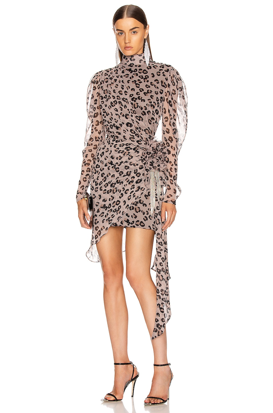 Image 1 of MARIANNA SENCHINA Leopard Gathered Bow Mini Dress in Coffee
