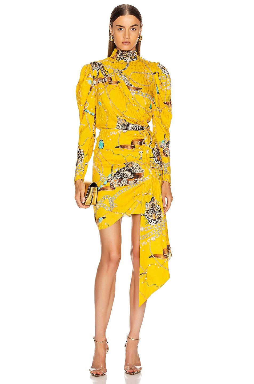 Image 1 of MARIANNA SENCHINA Leopard Print Mini Dress in Yellow