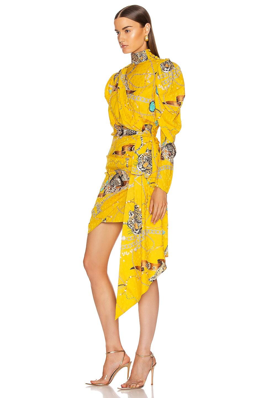 Image 3 of MARIANNA SENCHINA Leopard Print Mini Dress in Yellow