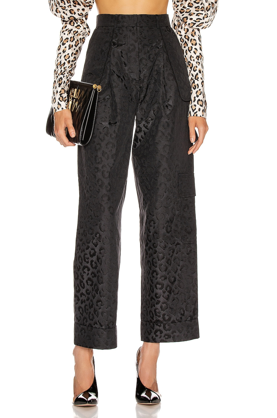 Image 1 of MARIANNA SENCHINA Flared High Waist Pant in BlackBlue