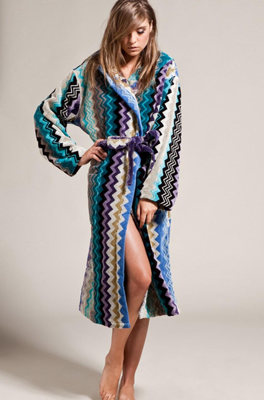missoni home giacomo hooded bathrobe in blues  fwrd - image  of missoni home giacomo hooded bathrobe in blues