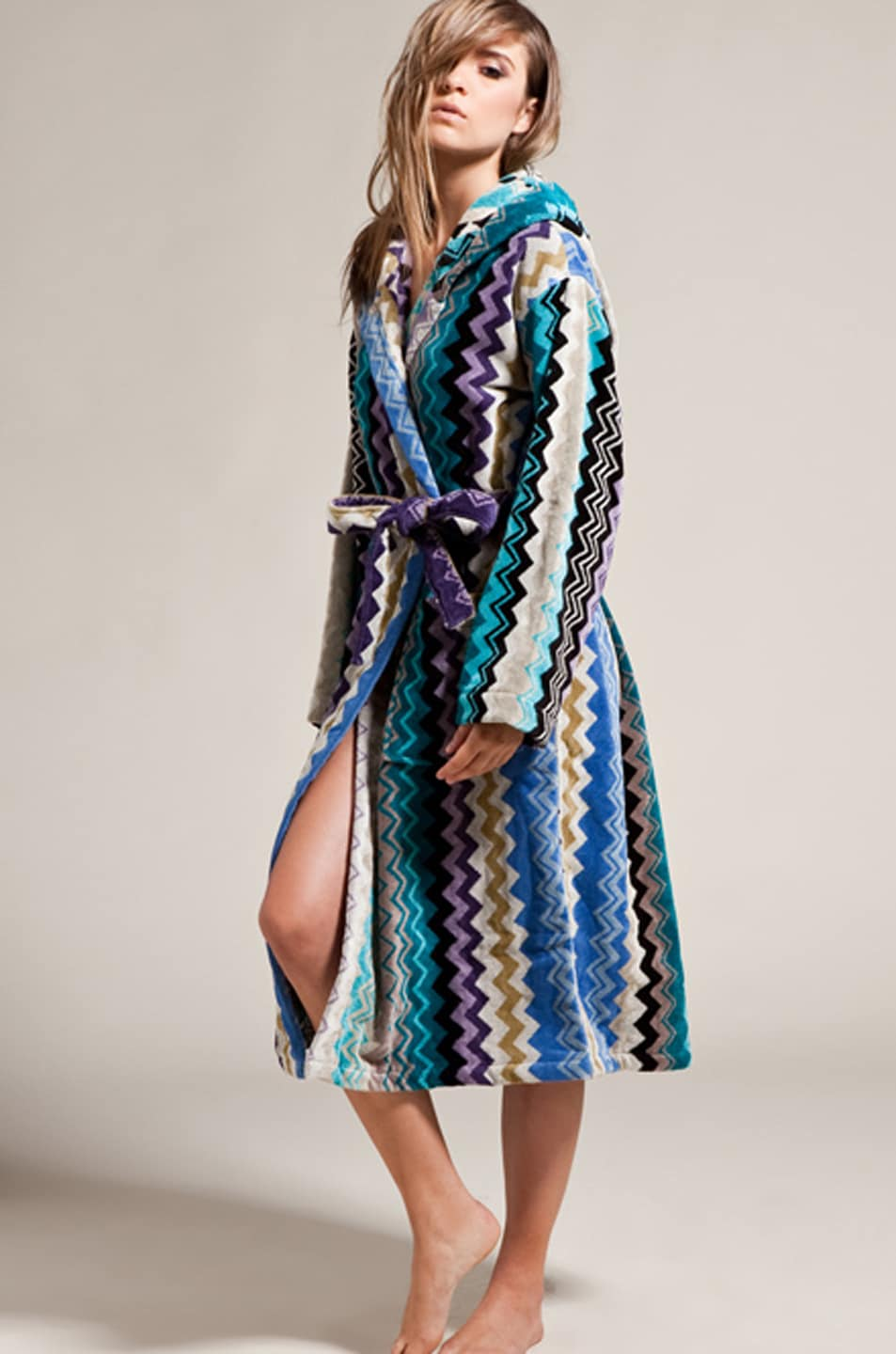 missoni home giacomo hooded bathrobe in blues  fwrd - image  of missoni home giacomo hooded bathrobe in blues