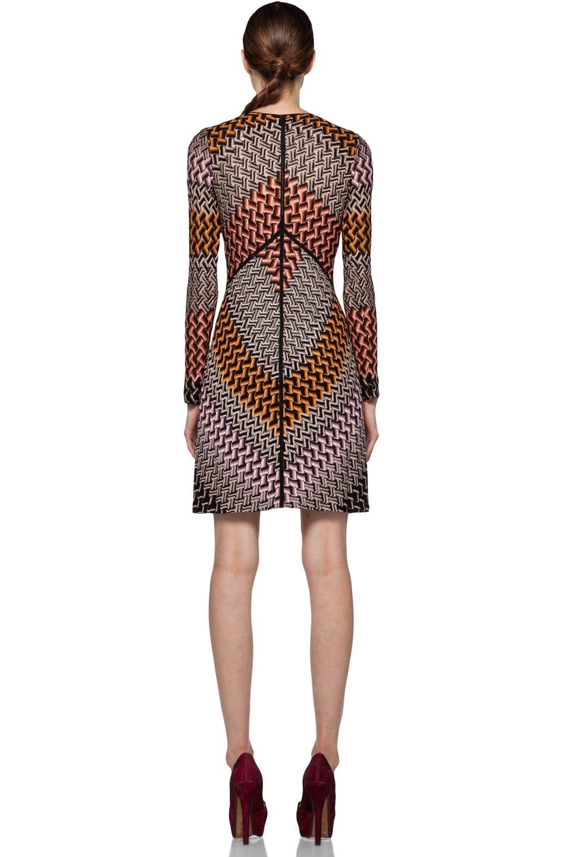 Image 4 of Missoni Deep V Long Sleeve Dress in Orange Multi
