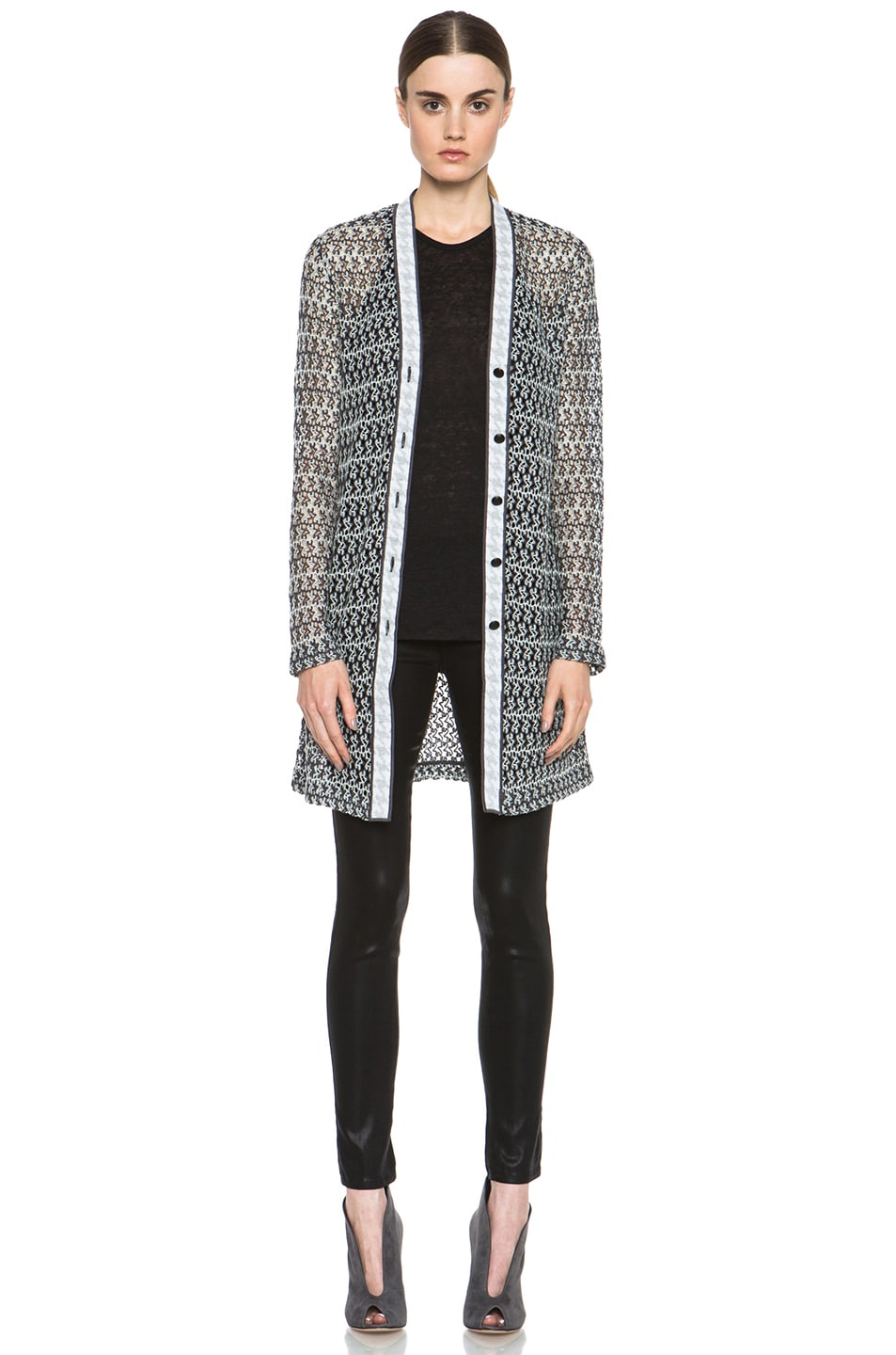 Image 1 of Missoni Houndstooth Cardigan in Black & White