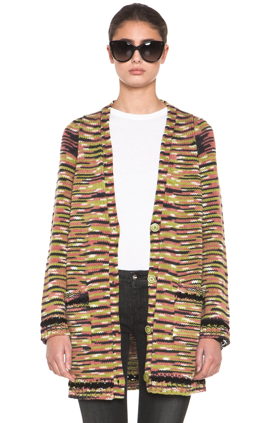 Image 1 of Missoni Thick Cashmere Cardigan in Green Multi