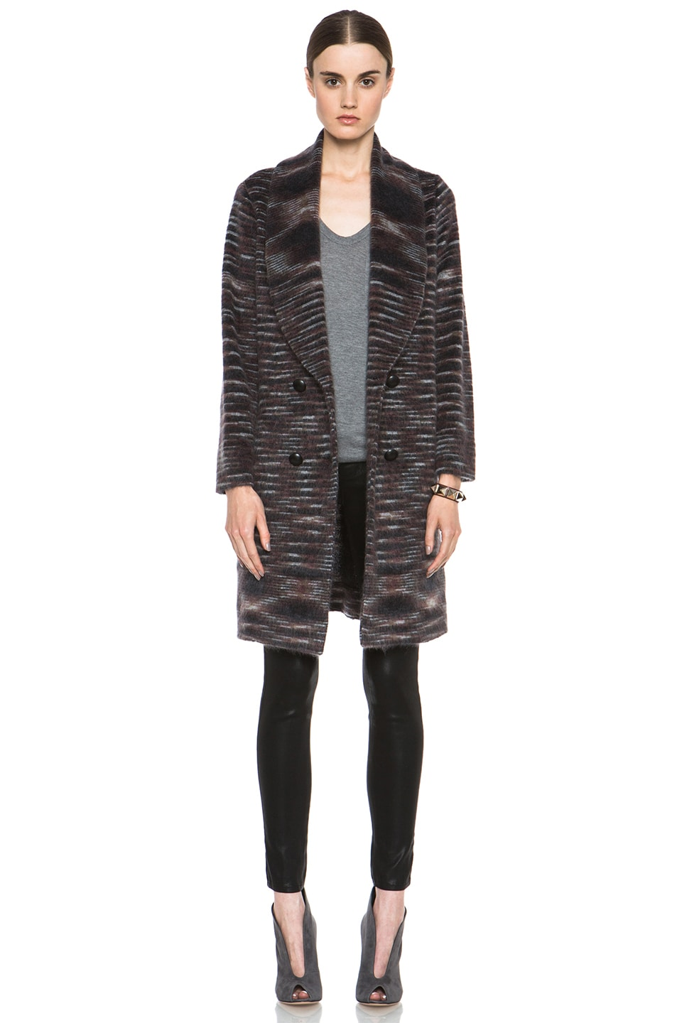 Image 1 of Missoni Striped Fuzzy Cardigan Coat in Black & Brown