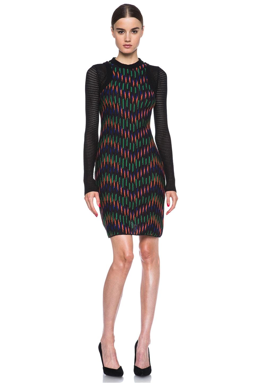 Image 1 of Missoni Broken Zig Zag Textured Knit Mini Dress in Tangerine