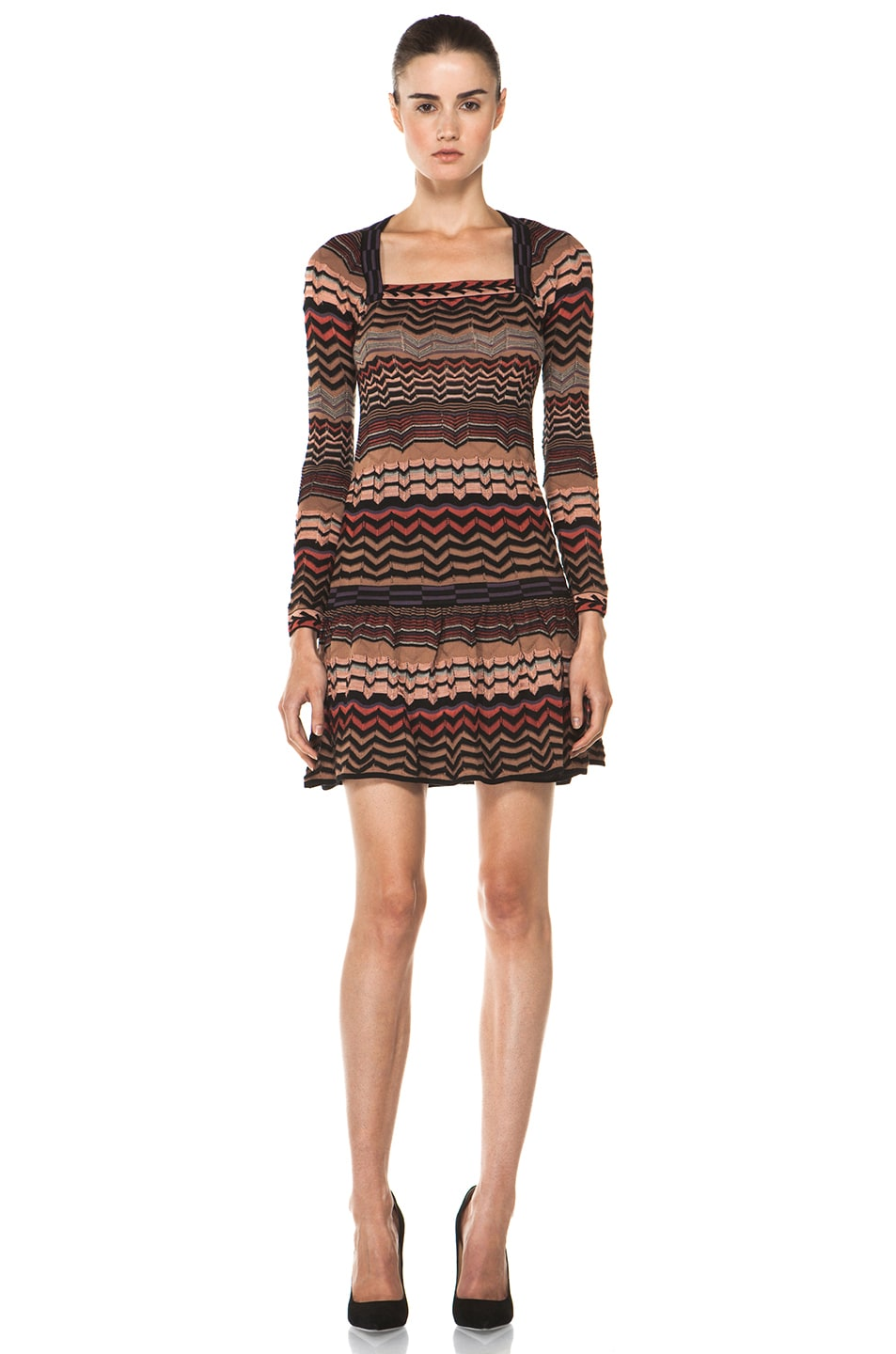 Image 1 of M Missoni Small Zig Zag Dress in Brown Multi