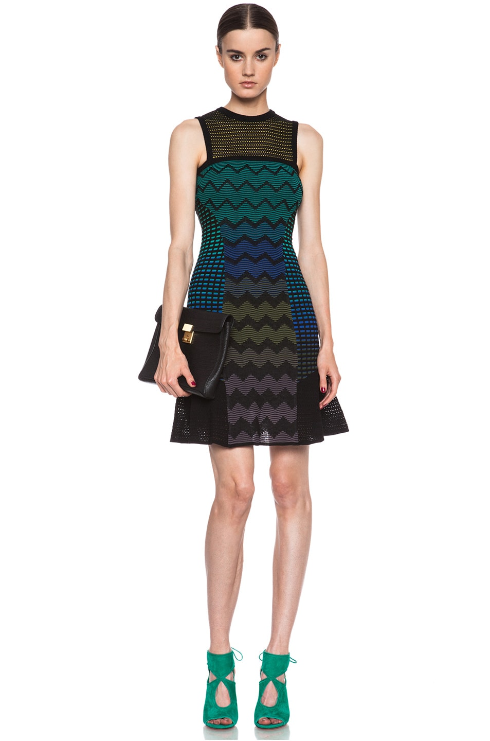 08bfdfaa1979e Image 1 of M Missoni Zig Zag Mix Media Knit Dress in Royal