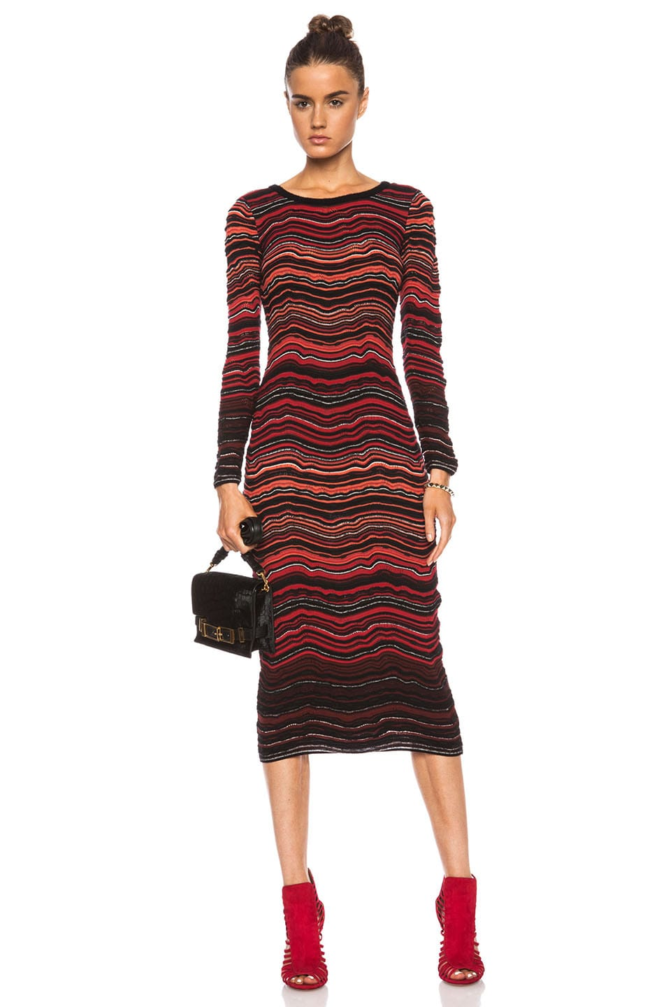 Image 1 Of M Missoni Zig Zag Viscose Blend Dress In Red