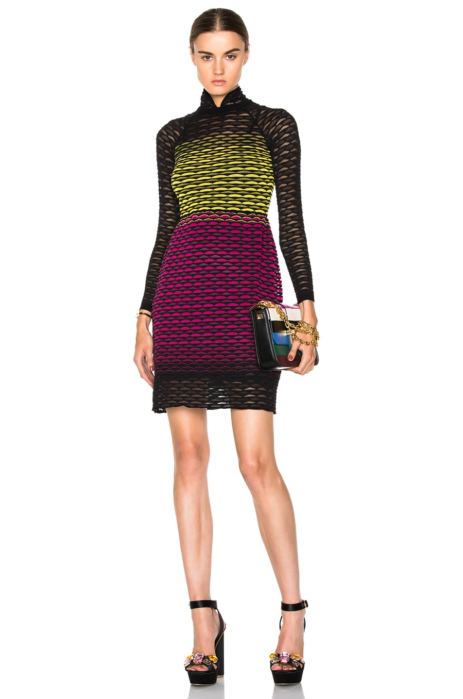 Image 1 Of M Missoni Grant Fan Dress In Fuchsia