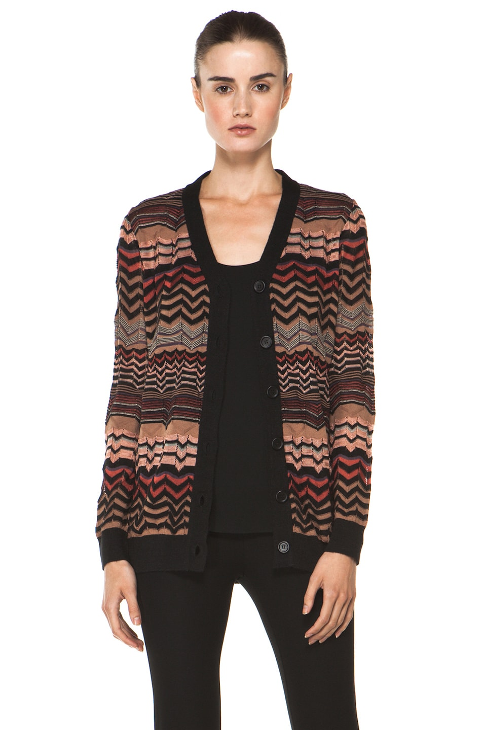 Image 1 of M Missoni Small Zig Zag Cardigan in Brown Multi