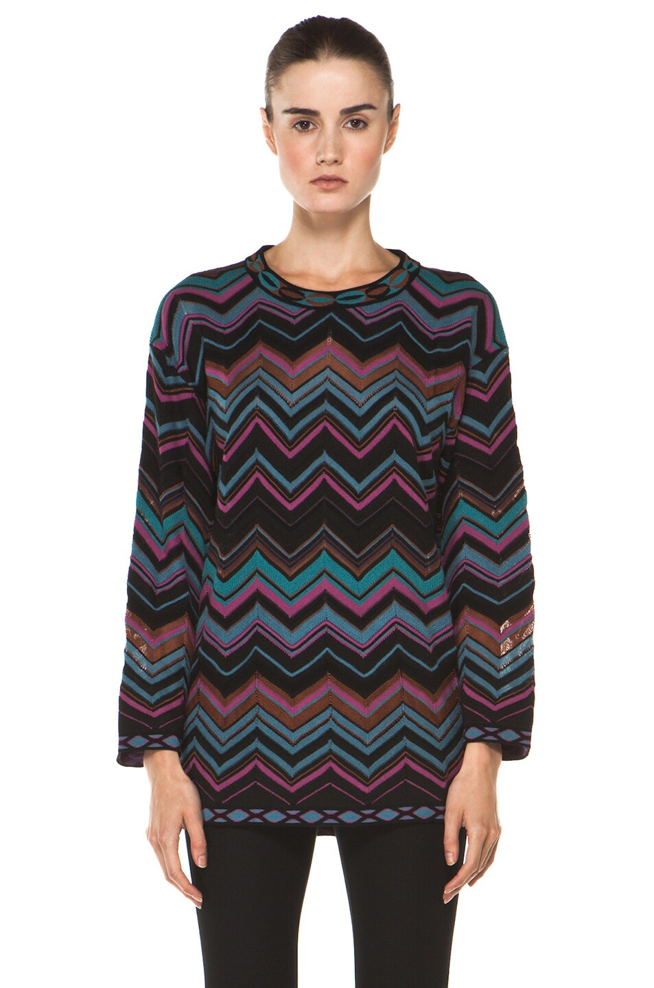 Image 1 of M Missoni Oversized Pullover Sweater in Blue Multi