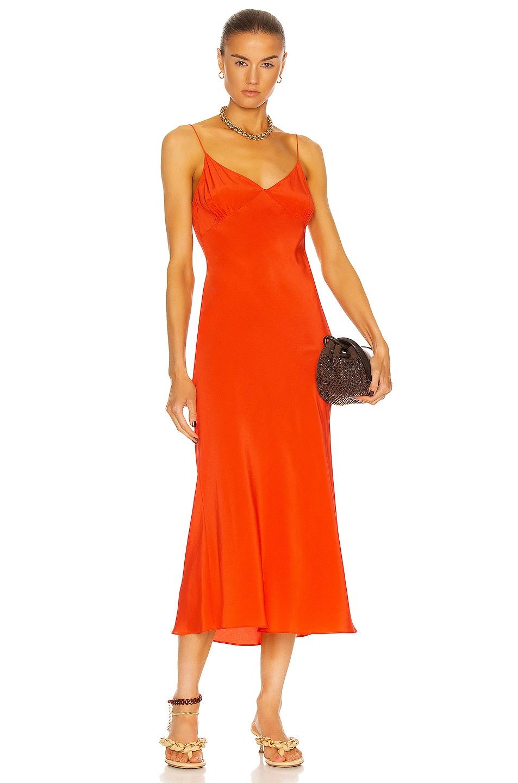 Image 1 of Matteau Low Back Slip Dress in Poppy