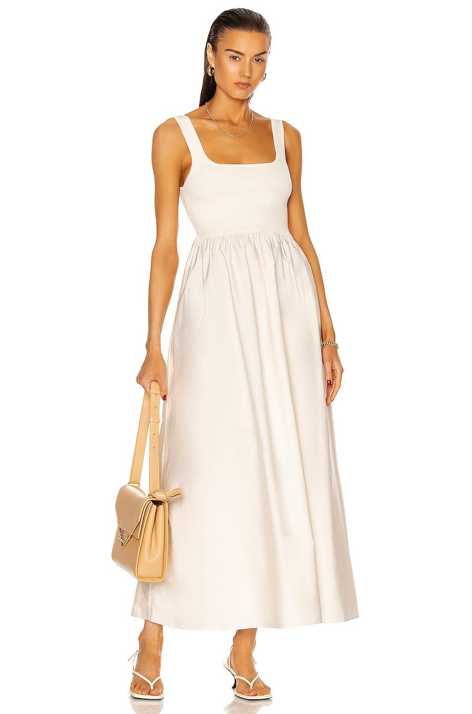 Image 1 of Matteau Knit and Cotton Maxi Dress in Ecru