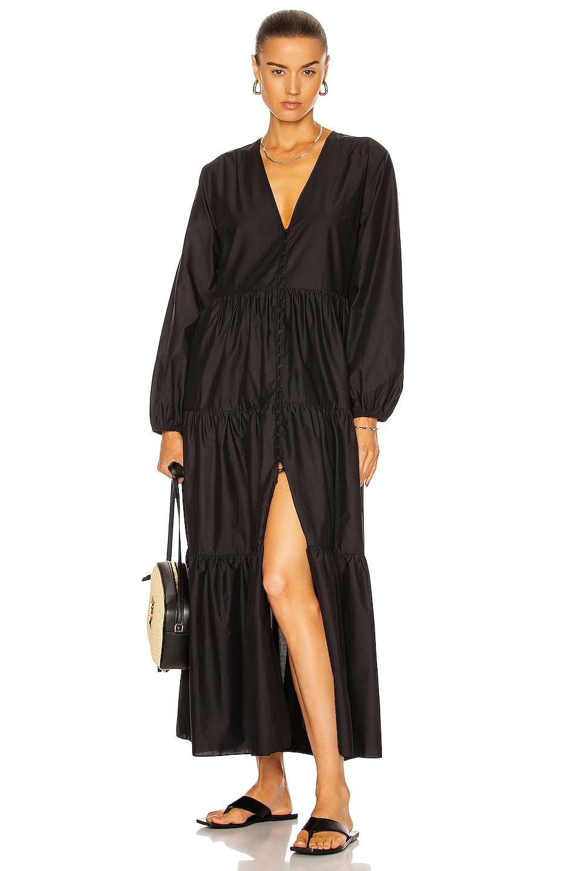 Image 1 of Matteau Long Sleeve Button Dress in Black