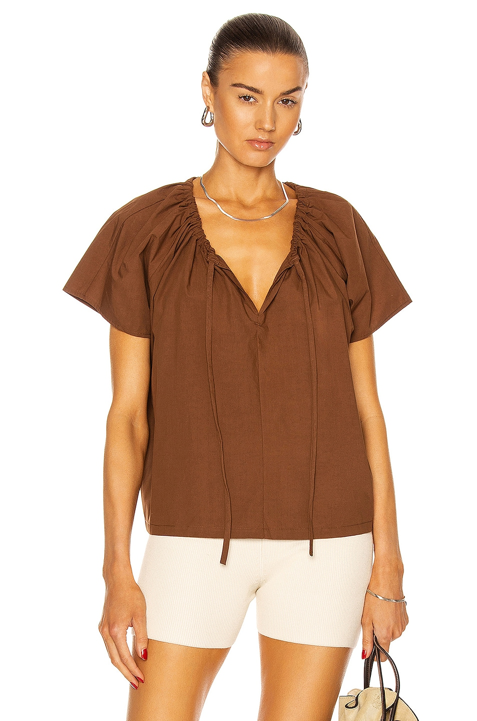 Image 1 of Matteau Drawcord Blouse in Pecan