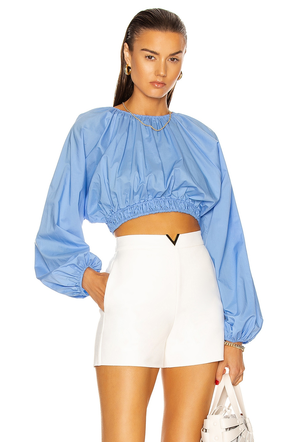 Image 1 of Matteau Shirred Blouse in Cornflower