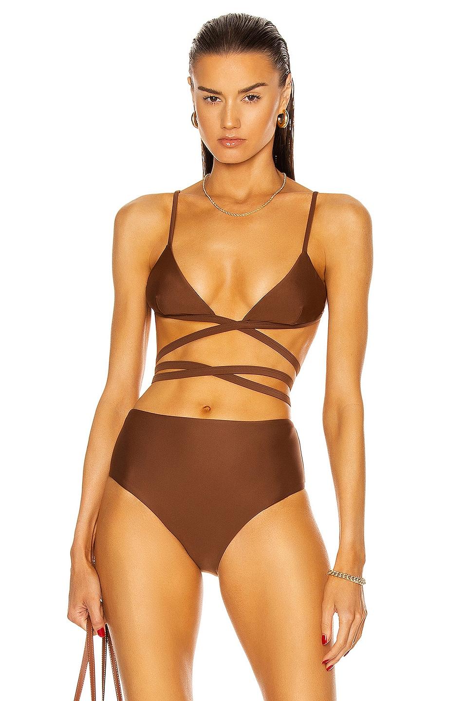 Image 1 of Matteau Wrap Triangle Bikini Top in Pecan