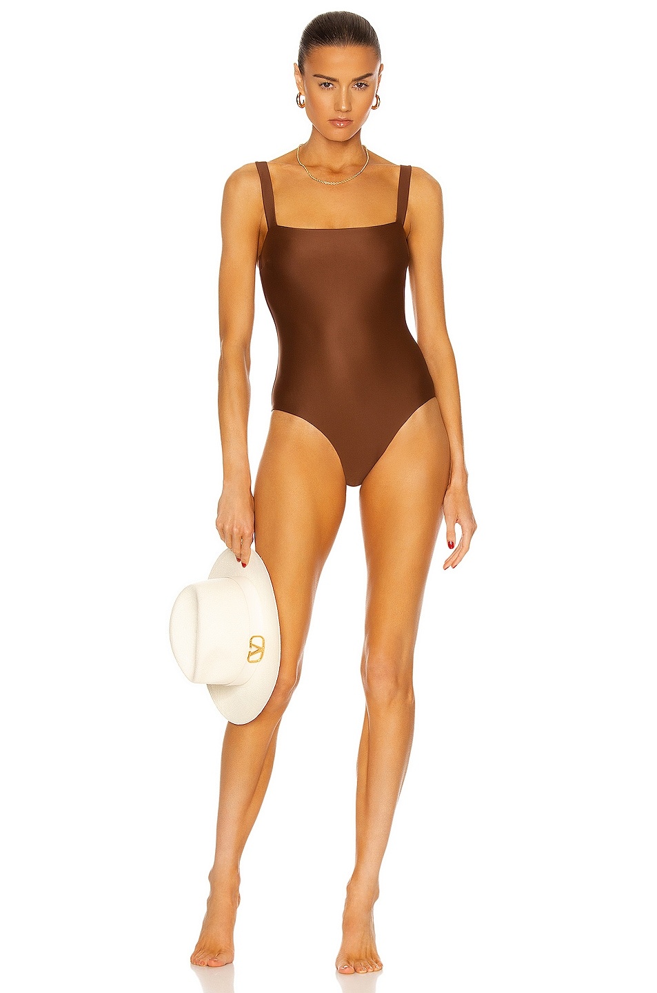 Image 1 of Matteau Square Maillot Swimsuit in Pecan