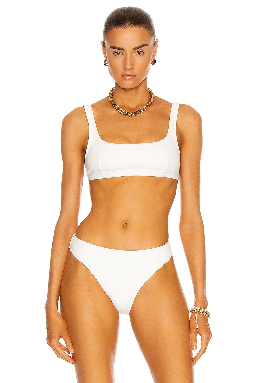 Image 1 of Matteau Nineties Crop Bikini Top in Chalk Crinkle