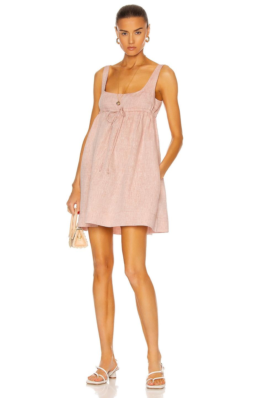 Image 1 of MATTHEW BRUCH Drawstring Baby Doll Dress in Dusty Rose Melange Linen