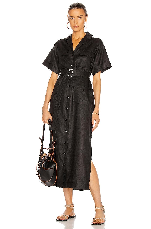 Image 1 of MATTHEW BRUCH Safari Midi Dress in Black
