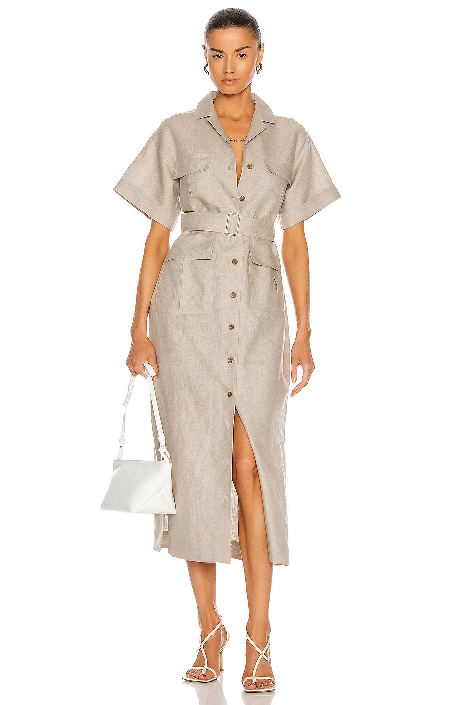 Image 1 of MATTHEW BRUCH Safari Midi Dress in Oatmeal