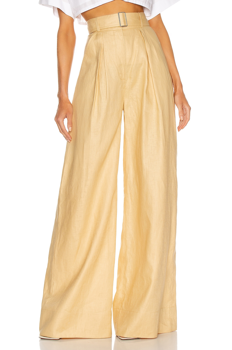 Image 1 of MATTHEW BRUCH Pleated Wide Leg Pant in Pale Yellow