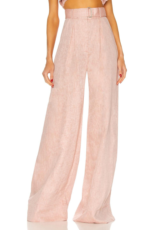 Image 1 of MATTHEW BRUCH Wide Leg Pleated Pant in Dusty Rose Melange Linen