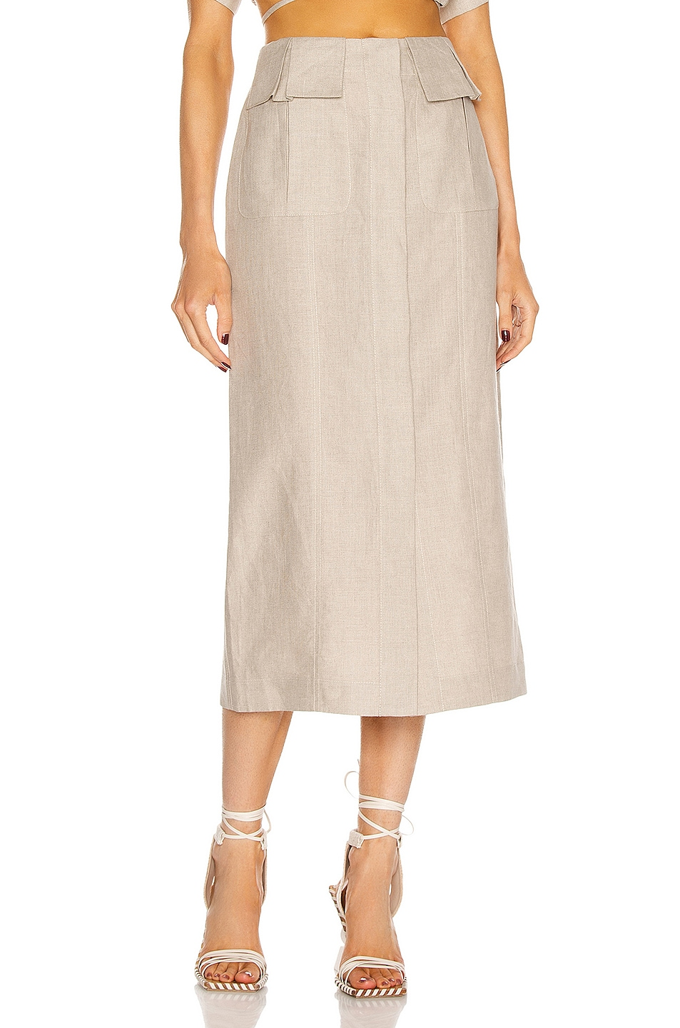 Image 1 of MATTHEW BRUCH Cargo Midi Skirt in Oatmeal