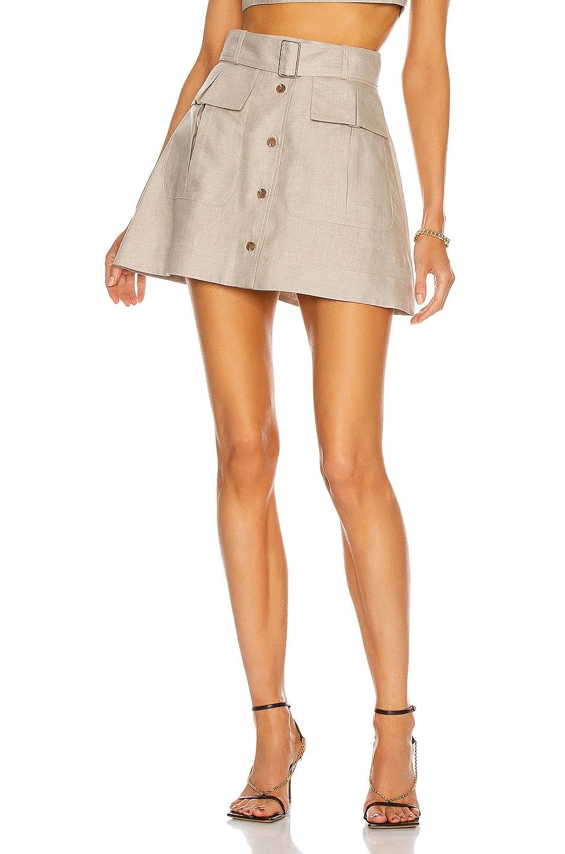 Image 1 of MATTHEW BRUCH Cargo Mini Skirt in Oatmeal