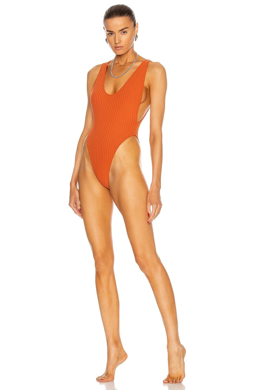 Image 1 of MATTHEW BRUCH Savannah Rib Knit One Piece Swimsuit in Terracotta