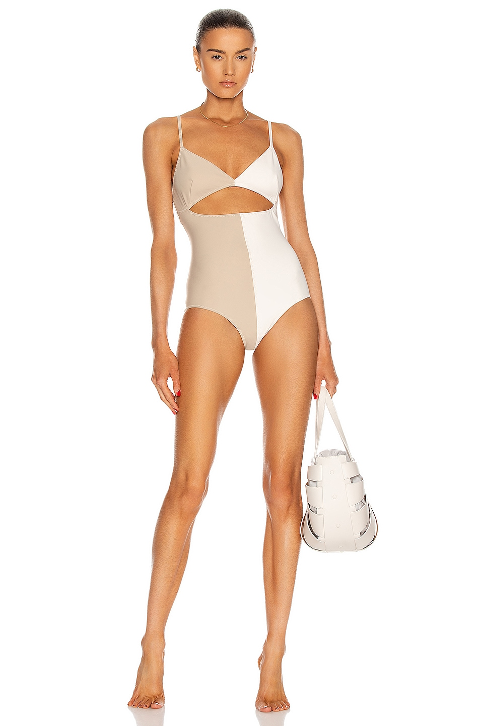 Image 1 of MATTHEW BRUCH Kimmie Colorblock One Piece in Oatmeal & Cream Scuba
