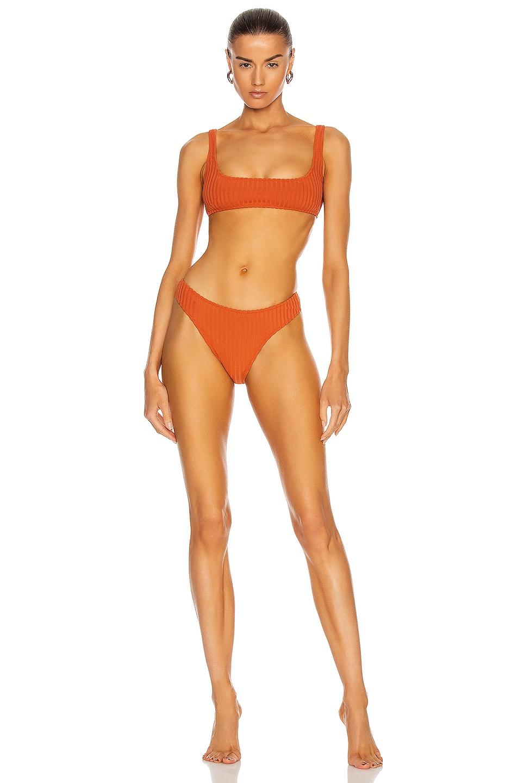 Image 1 of MATTHEW BRUCH Anna High Cut Rib Knit Bikini Set in Terracotta