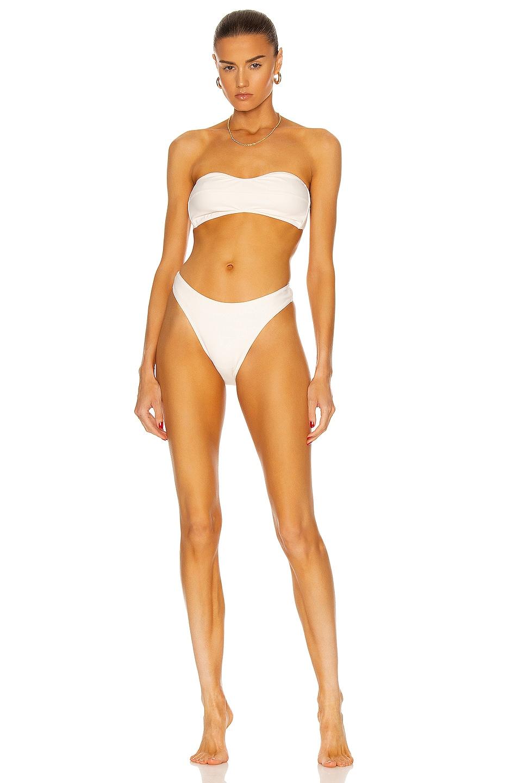 Image 1 of MATTHEW BRUCH Eva High-Cut Bikini Set in Cream Scuba