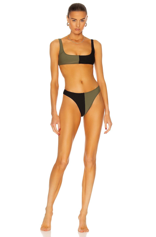 Image 1 of MATTHEW BRUCH Anna High-Cut Colorblocked Bikini Set in Army & Black Scuba