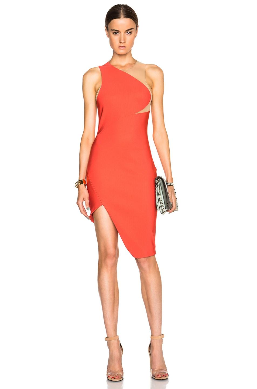 Image 1 of Mugler Mega Milano One Shoulder Dress in Coral